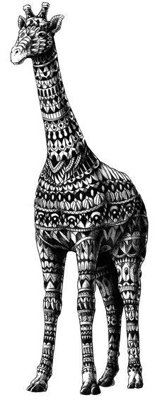 Ornate Giraffe Art Print by BioWorkZ   Society6