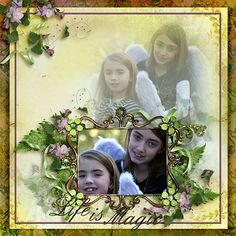 I love how the photo is framed, and then repeated as a blend in the background! Gorgeous clustering too! #digitalscrapbookingstudio  #digiscrapping