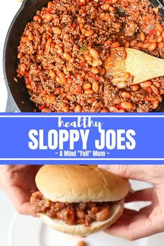 Lean ground sirloin, fresh veggies, and beans are enveloped into a sweet and tangy homemade sauce. Lean ground sirloin, fresh veggies, and beans are enveloped into a sweet and tangy homemade sauce. Healthy Sloppy Joe Recipe, Best Sloppy Joe Recipe, Homemade Sloppy Joe Recipe, Healthy Sloppy Joes, Homemade Sloppy Joes, Healthy Beef Recipes, Sloppy Joes Recipe, Easy Homemade Recipes, Homemade Sauce