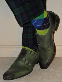 Vintage tartan pants, argyle socks, Bruno Cascinelli green leather double monk-straps…