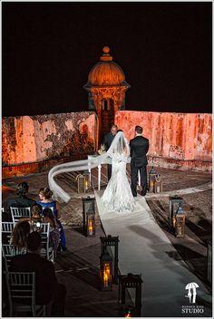 Ceremony at San Felipe del Morro, Old San Juan.  #WeddingCeremony #OldSanJuanWedding #DestinationWedding WeddingsinPuertoRico