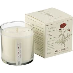 Siam Poppy Scented Candle - candle is packaged in recycled paper infused with flower seeds to plant