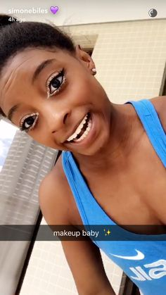 Simone Biles' Makeup Look From the 2016 Rio Olympics All-Around Competition…