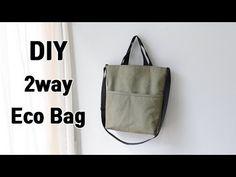 DIY 2way How to make eco bags/Eco Bag/에코백 만들기/Sewing DIY - YouTube Vintage Bags, Couture, Bag Making, Tote Bag, Sewing, Fabric, How To Make, Leather, Handmade