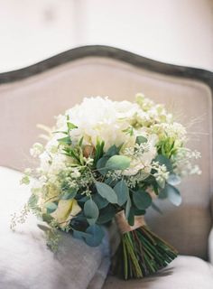 Green and Ivory Wedding Bouquets | Green and Ivory Bridal Bouquet by The Little Branch | photography by ...