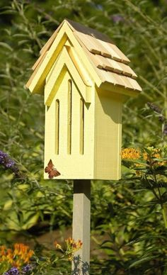 Heartwood Mademoiselle Butterfly House - Yellow 009E Bird House NEW #Heartwood