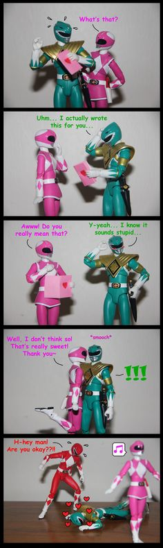 This is adorable! My OTP before I knew what a OTP was. Pink Crush ft. Green Ranger by spongejan.deviantart.com on @DeviantArt