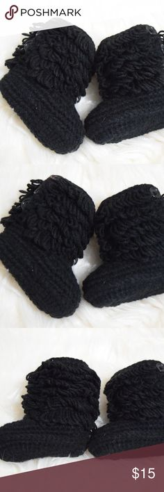 CROCHET BABY BOOTIES CROCHET BABY BOOTIES handmade NEW. BLACK. FIT 6-18 MONTHS  This list is for black booties. I have them available also  in Pink and Grey. Shoes