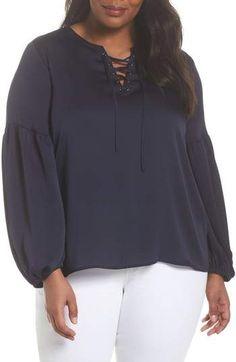 1de9126243a Vince Camuto Lace-Up Blouse. Shapely Chic Sheri · Plus Size Tops