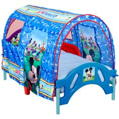 """Disney Mickey Toddler Tent Bed-- Perfect for transitioning from a crib to a """"big boy bed"""". Must get for Tristan!"""