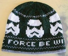 Free hand knitting charts for a hat to knit over 100 stitches. Free hand knitting charts for a hat to knit over 100 stitches. Featuring Star Wars and storm trooper designs. Knitting Charts, Loom Knitting, Knitting Stitches, Knitting Patterns Free, Free Knitting, Sewing Patterns, Free Pattern, Hat Patterns, Sweater Patterns
