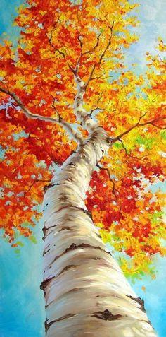 L'arbre représenté ci-dessus possède des couleurs vivent tout comme ses feuilles et le ciel. Selon moi l technique utilisé la gouache. L'oeuvre à été peinte avec un angle de perspective puisque nous voyons le haut de l'arbre . Je suis emballée par les couleur vive de ce tableau. Celui-ci me rappelle l'été malgré les feuilles rouge et jaune de l'arbre.