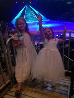 """Beautiful Bella and Addy at """"Frozen on Ice"""" show. Looks like they are enjoying Bill's 7th Birthday Surprise in a Very Happy way:)"""