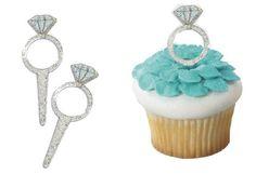 Diamond Ring Party Picks on cupcakes