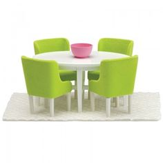 A home is not complete without a dining table for the family to sit around and this set from Lundby has a cool and modern feel to it. With a rug, four chairs, table and bowl this will look great in dolls houses and will ensure the family has a comforta