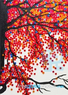 Tree in the fall.  Use as model for one of first attempts.  Try using grout where limbs and leaves are not, in a light blue for the sky, rather than filling it all in with tiles.