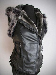 Leather steampunk vest black leather biker by EnchantedClothing