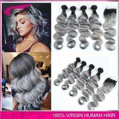 Ombre Brazilian Grey hair weaves 4pcs | Hair Care