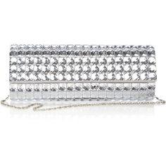 Silver Embellished Clutch Bag ($32) ❤ liked on Polyvore
