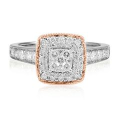 3/4 ct. tw. Cushion Shaped Diamond Engagement Ring in 14K Gold available at #HelzbergDiamonds