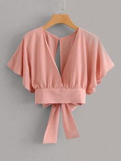 Tie Back Butterfly Sleeve Blouse You are in the right place about Women's Top dressy Here we offer you the Girls Fashion Clothes, Teen Fashion Outfits, Girl Fashion, Fashion Dresses, Clothes For Women, Fashion Moda, Stylish Dresses, 90s Fashion, Crop Top Outfits