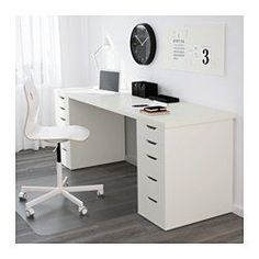 IKEA - LINNMON, Tischplatte, weiß, , An einer langen Tischplatte lässt sich gut ein Arbeitsplatz für zwei einrichten.Vorgebohrte Löcher für die Beine; leichte Montage.
