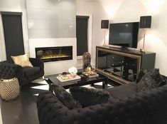 pin: @wifeofsosa🖤 Cozy Living Rooms, Home Living Room, Living Room Designs, Living Room Furniture, Living Room Decor, Dream Home Design, House Design, Cosy House, E Room