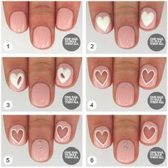 Negative Space Valentine Nail Art, http://hative.com/step-by-step-heart-nail-art-designs-for-valentines-day/