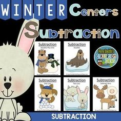 Winter Math: Winter Themed Five Strategies for Subtraction Centers and Interactive Notebook Activities for Winter Preview includes the #FREE Winter Math Center Sign! #TpT $Paid