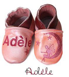 chaussons souples en cuir Zoé chausson bébé en cuir chausson cuir et chausson en cuir personnalisé sur www.ninaetnino.fr www.bebepersonnalise.fr