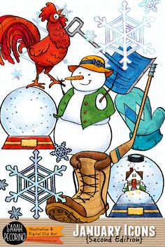 January themed icon clip art from Sarah Pecorino Illustration. Includes: hockey stick and puck, mitten, Red Rooster for Chinese New Year 2017, snow shovel, 2 snow globes, snowflake cluster, and snowman.