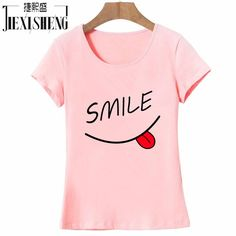 2017 Summer Brand New Women's Fashion Slim Cotton Top Tees T-Shirt with Smile Print and Short Sleeve 3 Colors Plus Size HH017