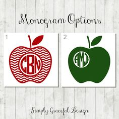 Monogram Apple Decal - Student Teacher Gift - Teacher Planner Decal - Yeti Teacher Decal - Apple Laptop Decal - End of Year Teacher's Gift by SimplyGracefulDesign on Etsy