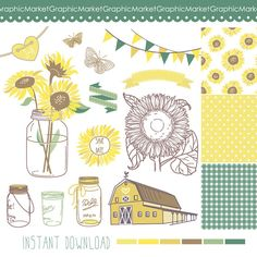 Hey, I found this really awesome Etsy listing at http://www.etsy.com/listing/155201716/sunflowers-mason-jars-and-digital-papers