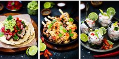 Barbecue pork belly tortilla; Barbecue prawns with lime; Coconut fish salad. Wooden board from Taylor Road. Grey tile from Heritage Tiles. Photo / Babiche Martens.