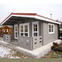 Drewniany domek letniskowy Alicja 62 + 18 m2 | domkiletniskowe.org Wooden House, Cottage Homes, Log Homes, House Floor Plans, Shed, Outdoor Structures, House Design, Flooring, Gardening