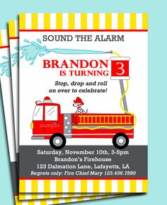 FireTruck Invitation Printable or Printed with by ThatPartyChick Firefighter Birthday, Boy Birthday, Birthday Parties, Birthday Ideas, Fourth Birthday, Happy Birthday, Fireman Party, Candy Bar Labels, Animal Party