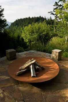 Inspiring Plate Inspired Portable Fireplace Idea Completed With Firewood Placed On Center Of Home Deck Area ☺. ✿ ✿