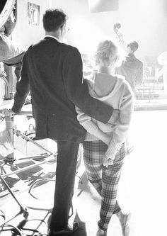 Marilyn and Arthur Miller backstage on the set of Let's Make Love, 1960. Photo by Robert Vose.