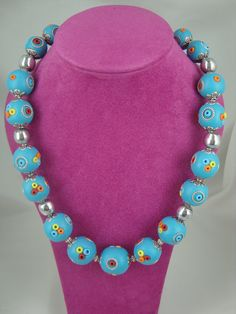 Handmade polymer clay turquoise beaded necklace by annagiles,