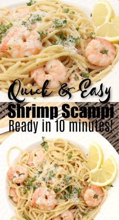 You are going to love this Lemon Garlic Shrimp Scampi Recipe. Lemon shrimp scampi recipe is ready in just 10 minutes! Garlic shrimp scampi recipe is one of our favorite shrimp recipes.Try this simple and quick recipe today for a healthy meal idea! Quick Shrimp Scampi Recipe, Garlic Shrimp Scampi, Healthy Shrimp Pasta, Shrimp Scampy, Lemon Shrimp Pasta, Shrimp Meals, Shrimp Scampi Pasta, Shrimp Fettuccine, Shrip Scampi Recipe