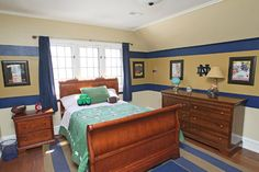 The bedroom of the couple's son Ryan, 7, reflects the fact that he is a big Notre Dame fan. His dad went to school there.