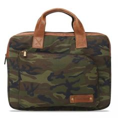 BUY #BARESKIN CAMOUFLAGE #CANVAS AND LEATHER TRIMMED LAPTOP SLEEVE @voganow.com #laptopbags