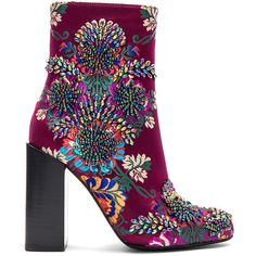 Jeffrey Campbell Beaded Stratford Bootie (860 RON) ❤ liked on Polyvore featuring shoes, boots, ankle booties, ankle boots, booties, fav, embroidered booties, short high heel boots, holographic boots and fake boots