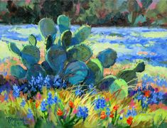 Texas Prickly pear cactus in a bluebonnet meadow--11 x 14 canvas. Colorful Acrylic painting--CACTUS IN THE WILDFLOWERS by Mary Shepard. www.maryshepard.com