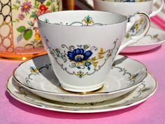 Argyle Blue and Floral Vintage Bone China Tea Trio