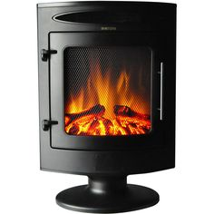 Freestanding Electric Fireplace 1500 Watt With Log Display In Black Free Standing