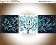 Turquoise black white Love birds painting set of 3 wall art