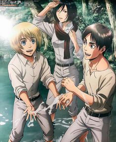 Armin, Mikasa and Eren Eren Aot, Eren And Mikasa, Attack On Titan Eren, Attack On Titan Fanart, Attack On Titan Ships, Anime Guys, Manga Anime, Hiro Big Hero 6, Attack On Titan Aesthetic