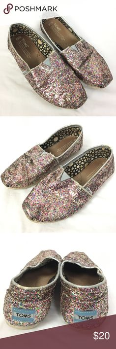 1822144fa TOMS Multi Rainbow Glitter Shoes 7.5 Toms multi colored metallic glitter  shoes. Size  Women s